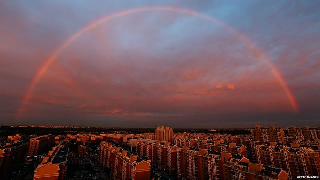 رنگین کمان زیبا و شگفت انگیز در پکن + تصاویر