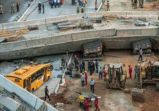 ریزش پل در برزیل فاجعه به بار آورد !