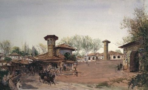 نقاشی بسیار زیبا از شهر رشت 120 سال پیش