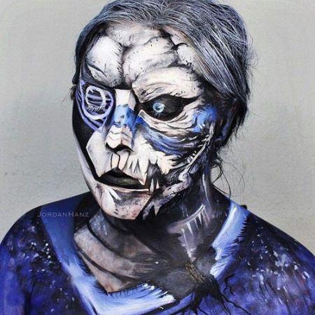 گریم های ترسناک دختری بر روی صورت خود (عکس)