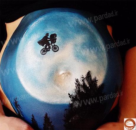 عکس های کشیدن نقاشی های زیبا روی شکم زنان باردار
