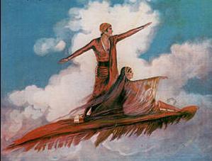 عروس و داماد ایرانی سوار بر قالیچه پرنده (عکس)