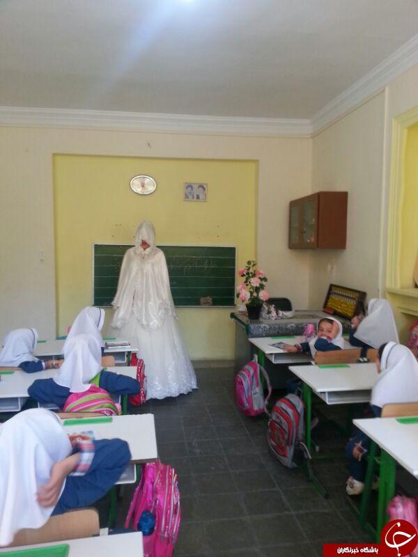خانم معلم ایرانی با لباس عروس درکلاس + عکس