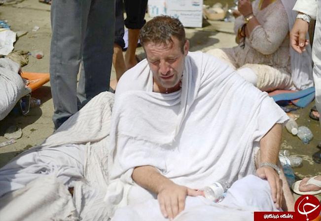 تصاویر غم انگیز از خداحافظی تلخ پدر با پسر پس از حادثه منا