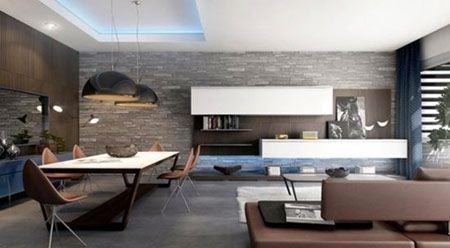 مدل زیباسازی فضای داخلی با دیوارهای سنگی