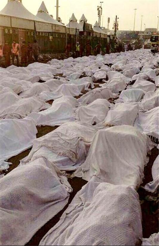 غم انگیز ترین غروب منا با انبوه اجساد حجاج + عکس