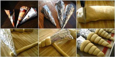 خمیر پیتزا به شکل قیفی درست کنید