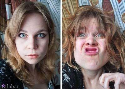 عکس های خنده دار وقتی دختران خوشگل شکلک در می آورند