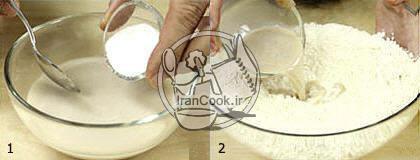 طرز تهیه خمیر پیتزا مخلوط به صورت تصویری