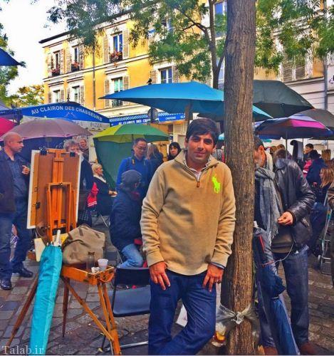 عکس یادگاری حمید گودرزی در محله نقاش های پاریس