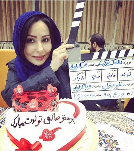 جشن تولد پرستو صالحی حین فیلمبرداری + عکس
