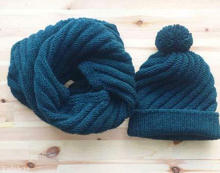 مدل شال و کلاه بافتنی جدید برای زمستان