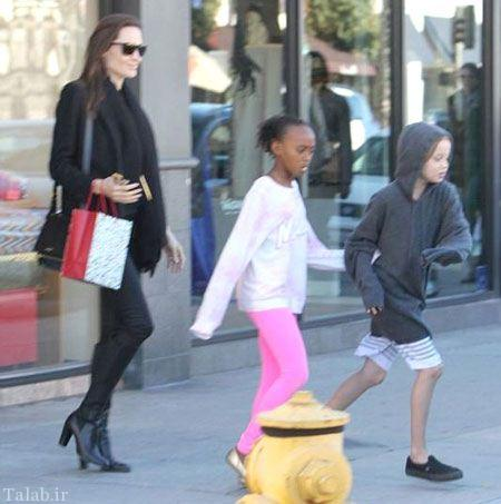 تصاویر لو رفته از آنجلینا جولی و دخترانش در فست فود