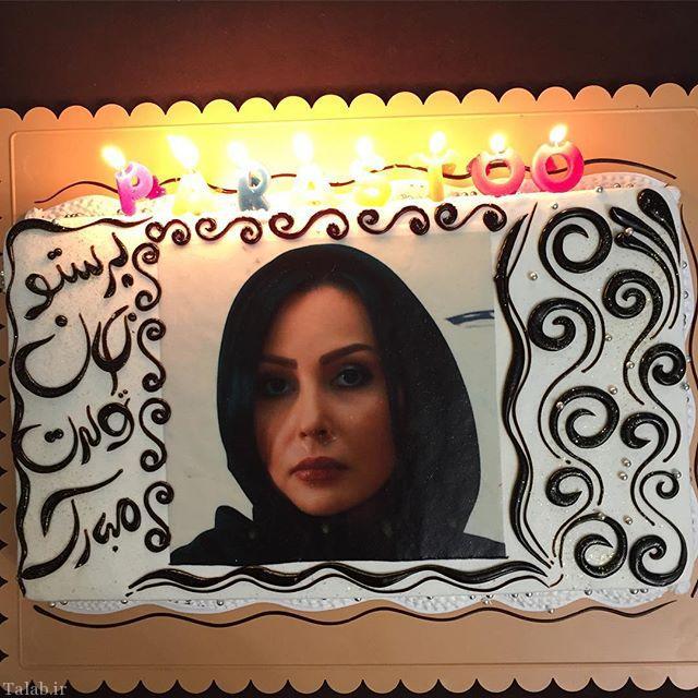 پرستو صالحی و ذوق زده شدن از کیک تولدش (عکس)