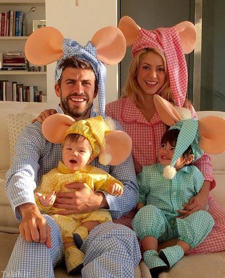 تیپ جالب خانواده پیکه و شکیرا در شب هالووین (عکس)