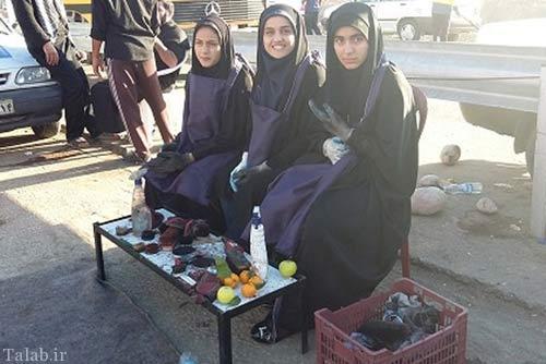 اقدام زیبای دختران ایرانی در مراسم اربعین (عکس)