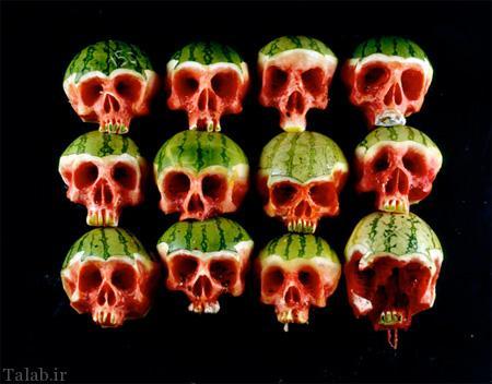 عکس های دیدنی جمجمه از جنس میوه و سبزی