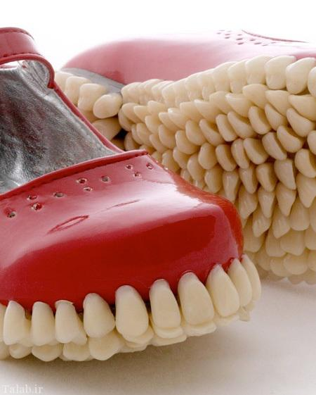 کفش هایی از جنس دندان انسان ساخته شد + تصاویر