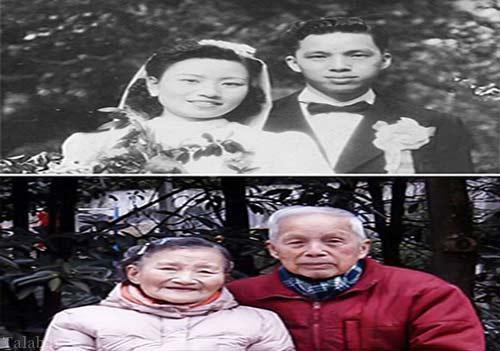 زوج 100 ساله هفتادمین سالگرد ازدواج را جشن گرفتند (عکس)