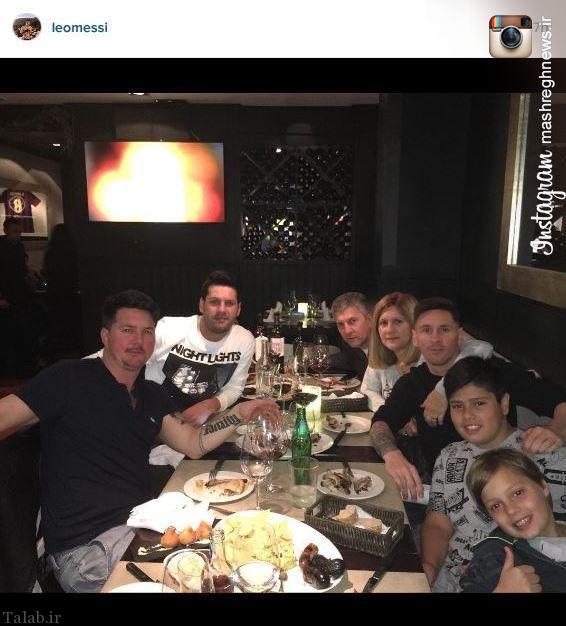 شام خوردن مسی با خانواده اش (عکس)