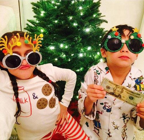 شور و شادی جنیفر لوپز و خانواده اش در کریسمس (عکس)