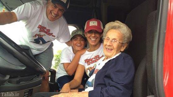 پیرزن 97 ساله که آرزوی کامیون سواری داشت (عکس)