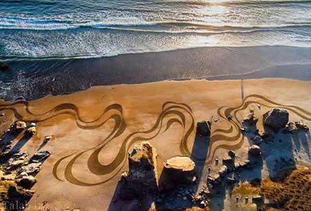 خلق آثار زیبا و دیدنی لب ساحل (عکس)