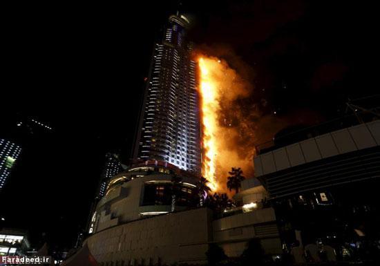 آتش سوزی وحشتناک در شروع سال نو در دبی (عکس)