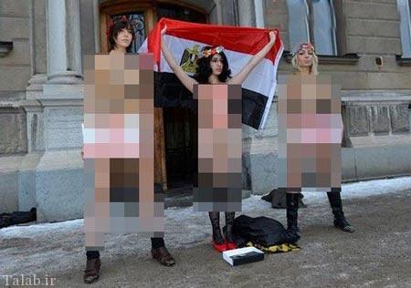 لخت شدن بی شرمانه زنان مصری برای اعتراض (عکس)