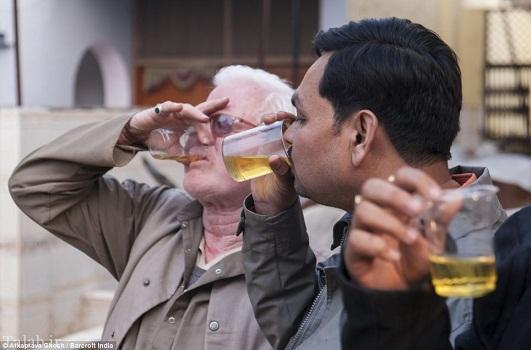 نوشیدن ادرار گاو برای شفا در هند + عکس