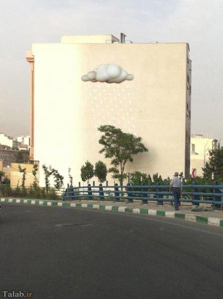 نقاشی های سه بعدی بر روی ساختمان ها در تهران