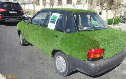 سبزه انداختن پراید برای عید نوروز (عکس)