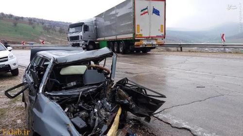 تصادف مرگبار تریلی با پراید + عکس