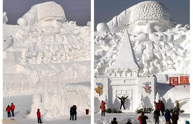 بزرگترین مجسمه یخی بابانوئل جهان