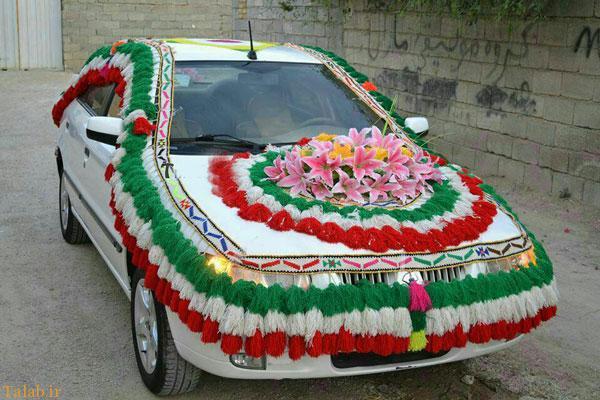 عکسهایی از ماشین عروس با تزئینات محلی
