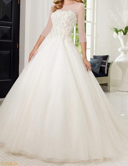 مدل لباس عروس آستین دار شیک و جدید