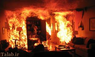 نجات سه نفر در آتش سوزی منزل مسکونی + عکس