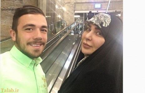 پسر و همسر امیر قلعه نویی در یک عکس