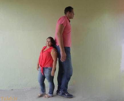 ازدواج جالب این زن شوهر با قدهای متفاوت (عکس)