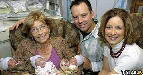 زنی که در سن 60 سالگی 3 قلو بدنیا آورد !+ عکس