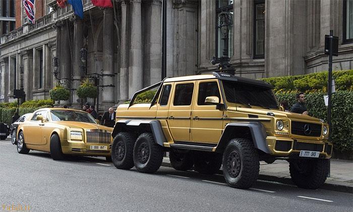 شاهزاده سعودی با 7خودروی طلایی !+ عکس