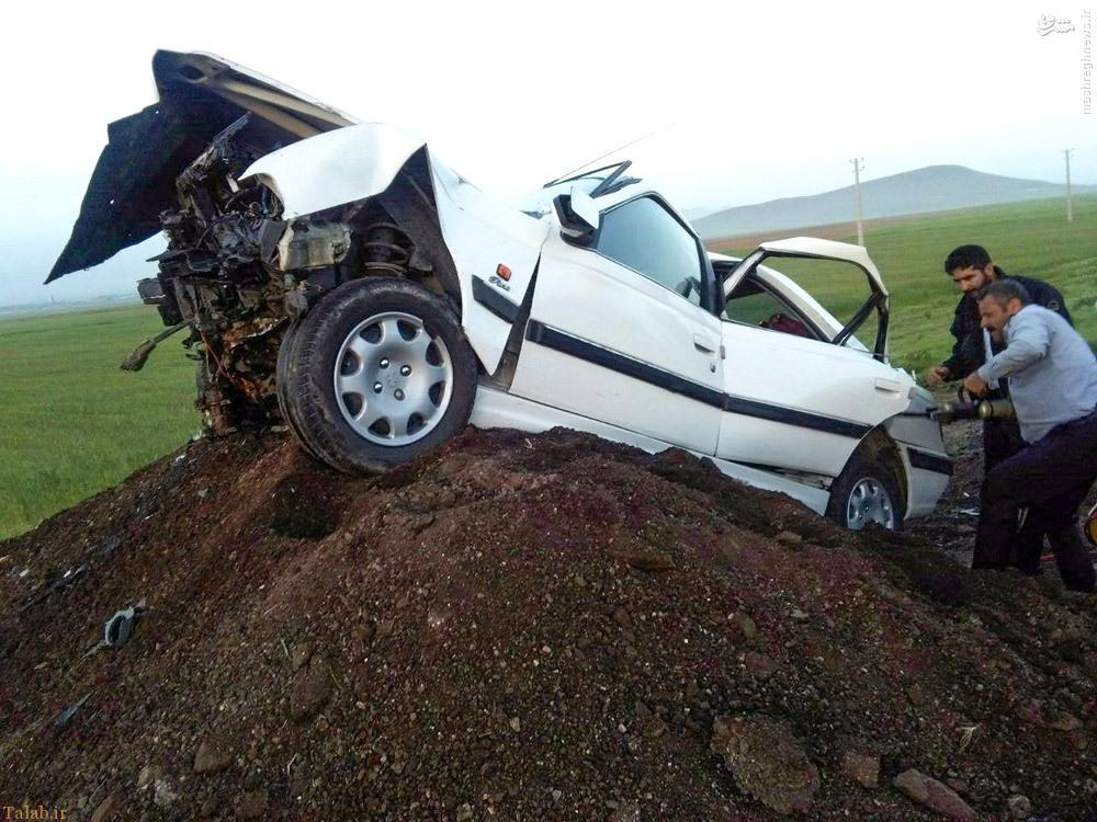 خودروی تصادفی نماینده فوت شده مراغه (عکس)