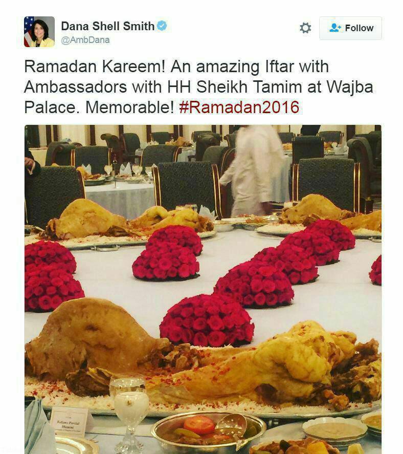 سفره افطار امیر قطر برای سفرای خارجی (عکس)