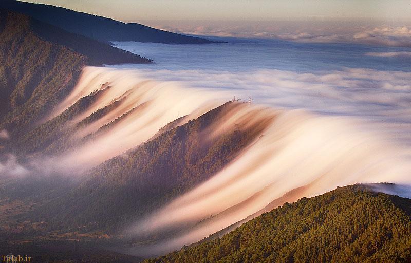 عکس زیبا از آبشار ابر در جزایر قناری