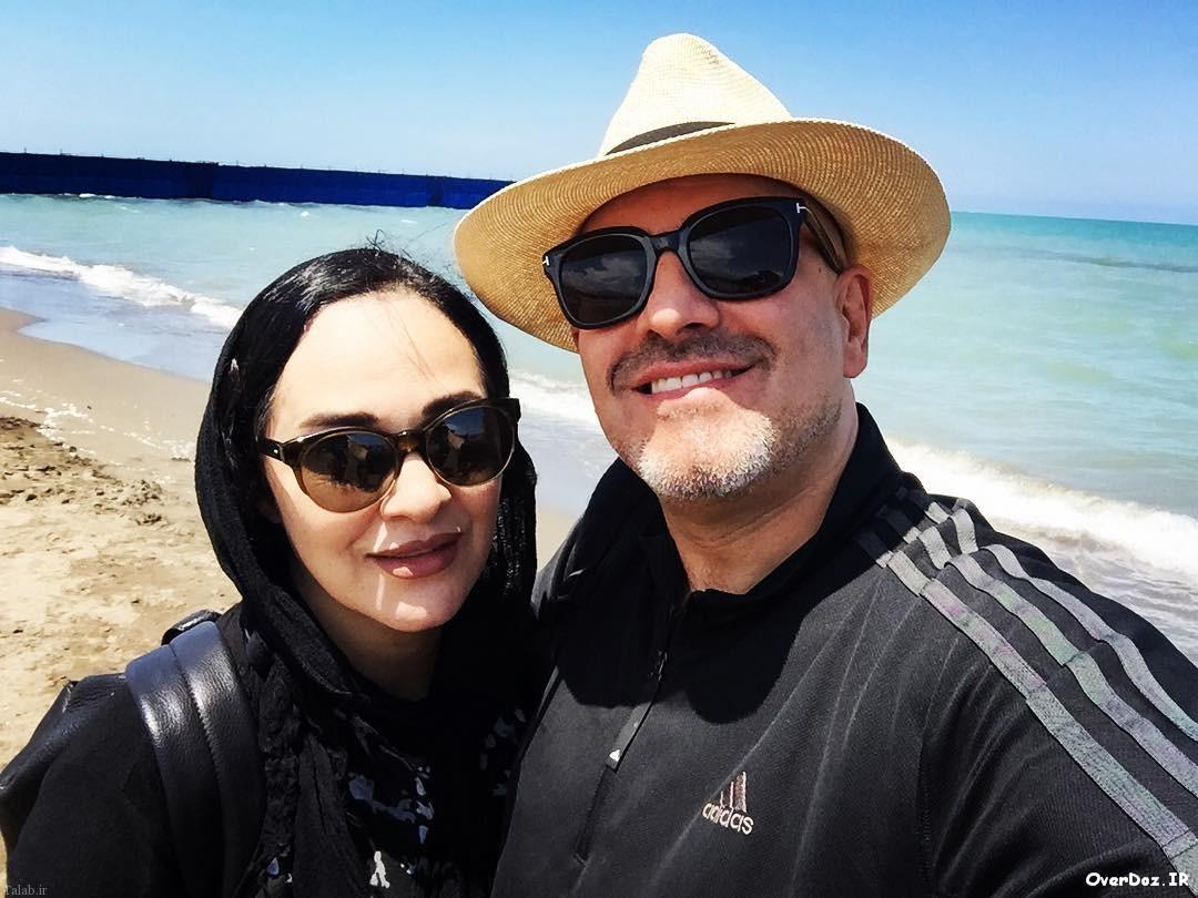 عکس رویا نونهالی و همسرش کنار دریا