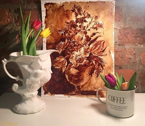 عکس هایی جالب از نقاشی باورنکردنی با قهوه