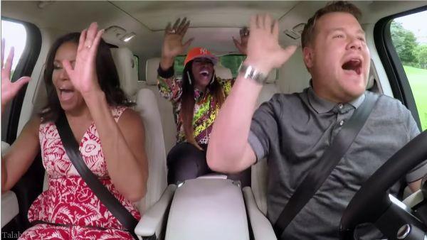 آواز خواندن همسر اوباما در اتومبیل (+عکس)