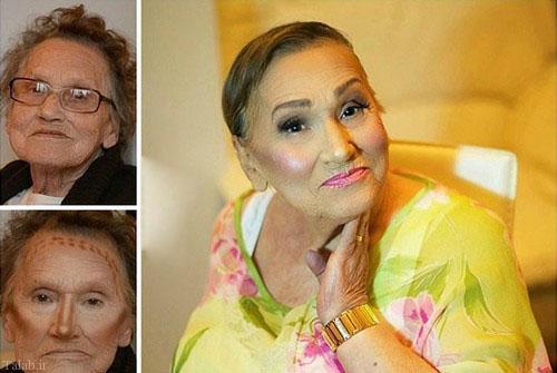 آرایش جالب مادربزرگ 80 ساله توسط نوه اش (عکس)