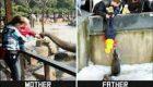 عکسهای تفاوت جالب پدران و مادران در بچه داری