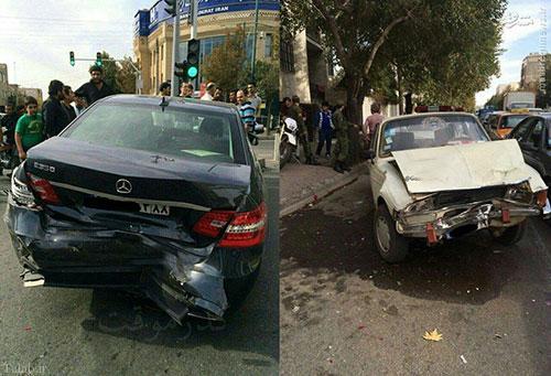 تصادف شدید بنز با پیکان ( عکس)